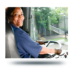 Greenlink bus driver, sitting in the driver&#39s seat