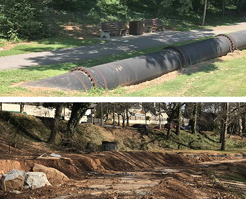 Photo of exposed sewer pipes in Cleveland Park, before the project started and then covered