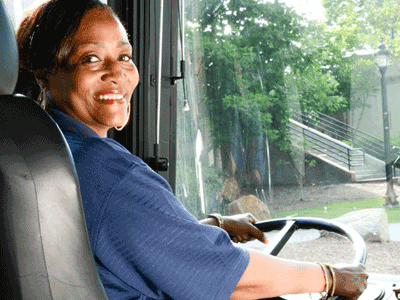 Greenlink bus driver behind the wheel