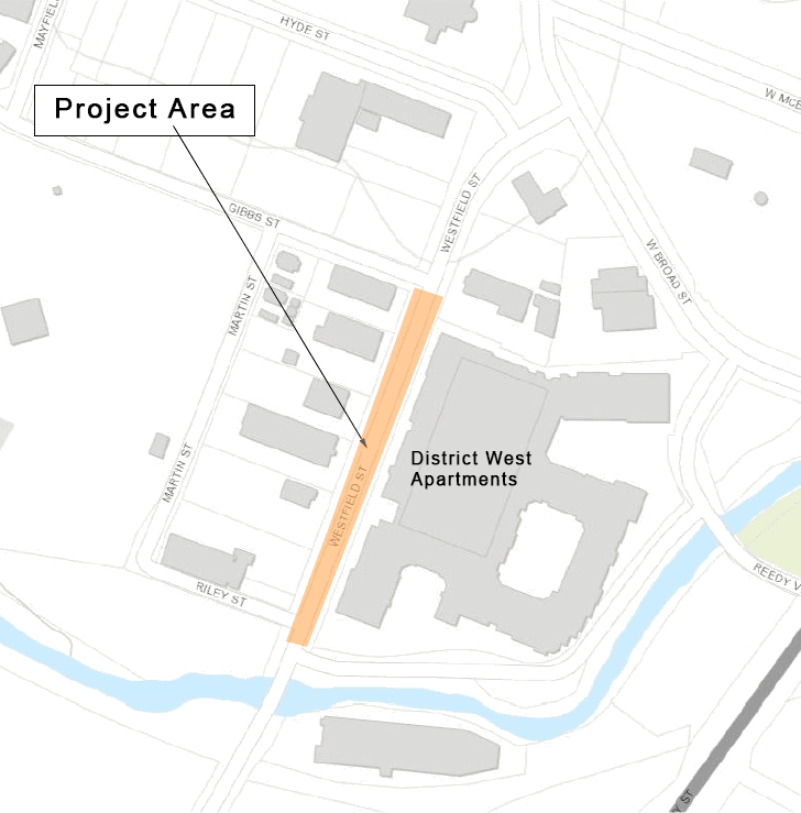 Map showing location of Westfield Street parallel parking project