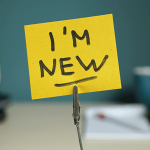 Sticky Note with words: I'm New!