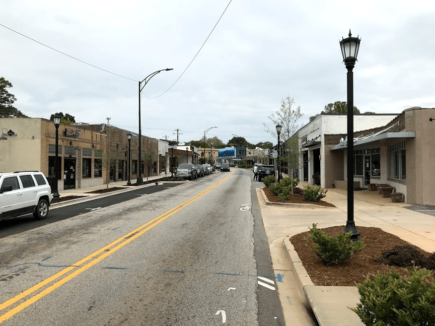 View of completed streetscape in the Village of West Greenville