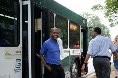 Man exiting a Greenlink bus