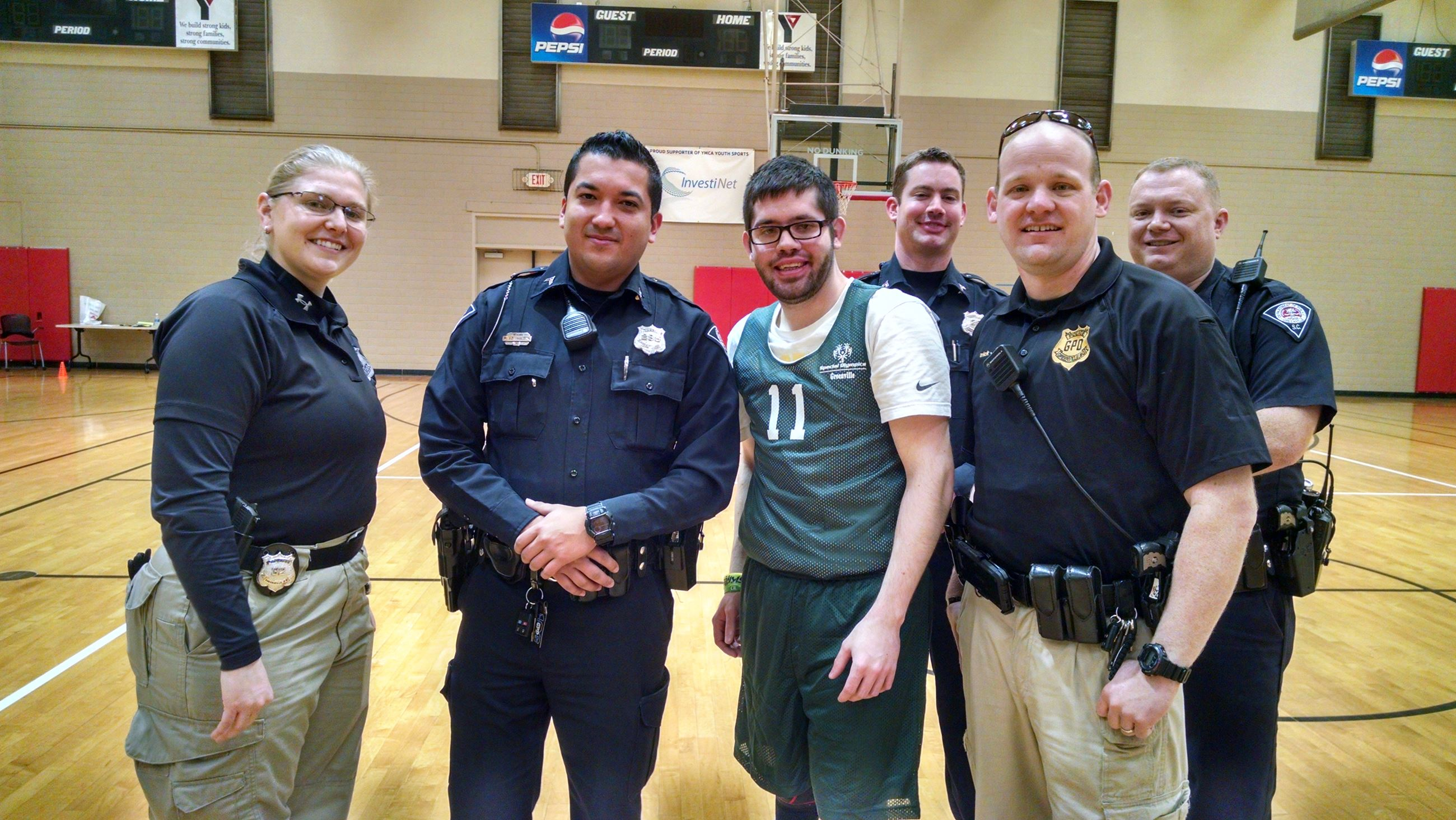 Officers Lepak, Franco, Sample, Leewood, and Sergeant Irick declared the Special Olympics Basketball Invitational open on Feb 10, 2017.