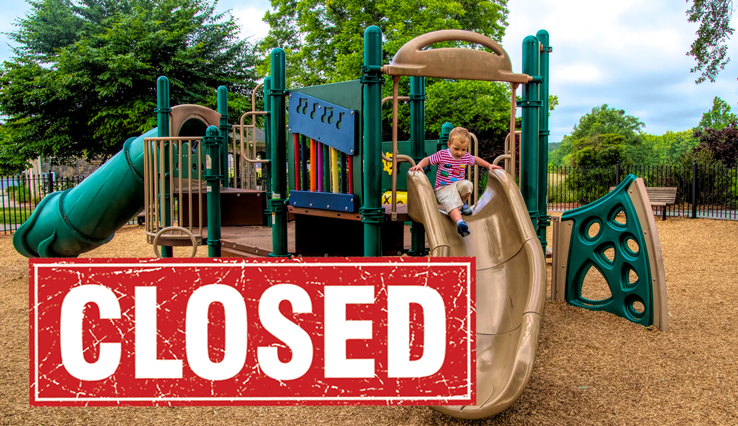 image of playground with CLOSED sign over it